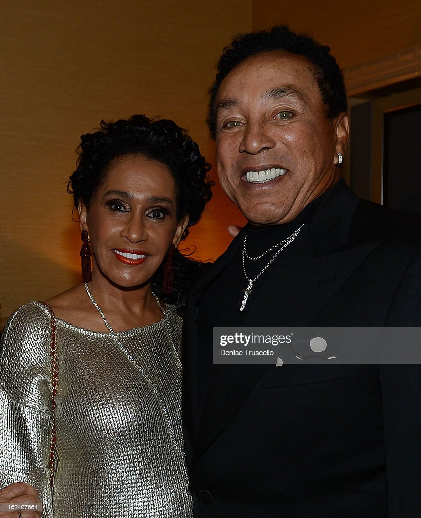 Smokey Robinson (R) attends 'Smokey Robinson Presents Human Nature: The Motown Show' opening at The Venetian on February 22, 2013 in Las Vegas, Nevada.