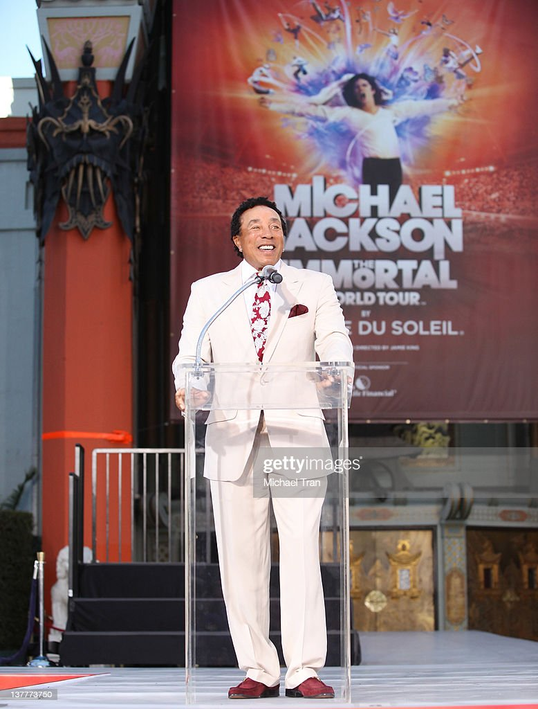 Smokey Robinson attends the Michael Jackson 'Immortalized' hand and footprint ceremony held at Grauman's Chinese Theatre on January 26, 2012 in Hollywood, California.