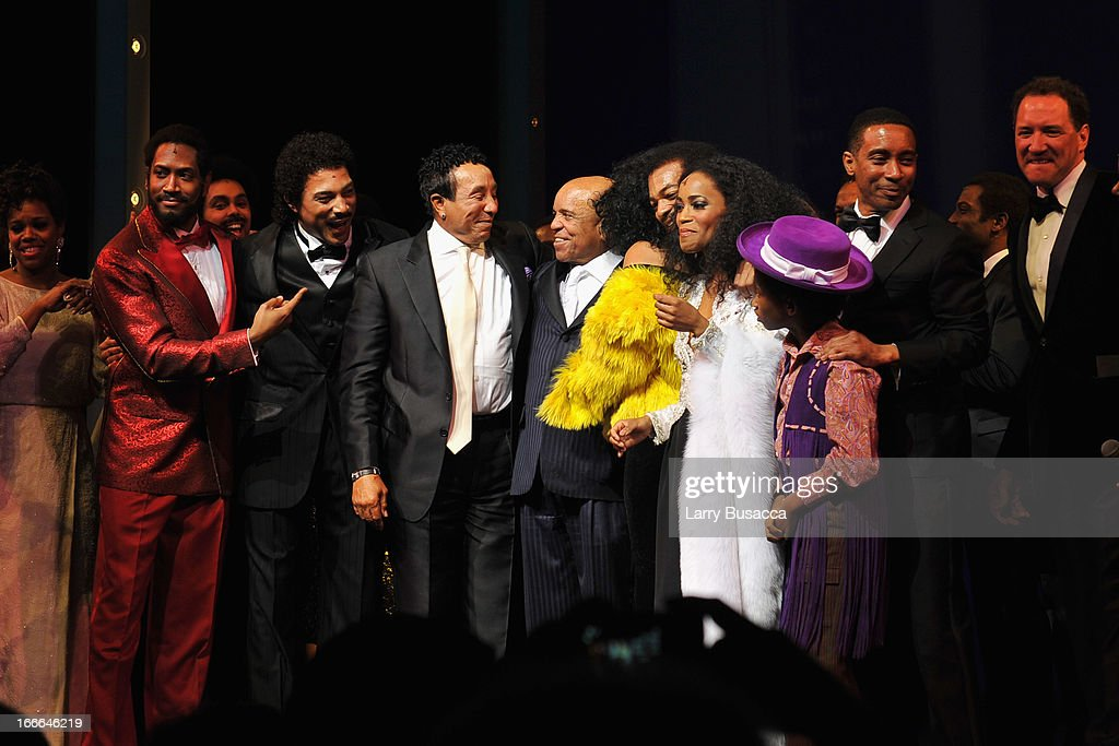 <a gi-track='captionPersonalityLinkClicked' href=/galleries/search?phrase=Smokey+Robinson&family=editorial&specificpeople=210698 ng-click='$event.stopPropagation()'>Smokey Robinson</a>, Berry Gordy and <a gi-track='captionPersonalityLinkClicked' href=/galleries/search?phrase=Diana+Ross&family=editorial&specificpeople=202836 ng-click='$event.stopPropagation()'>Diana Ross</a> join the cast onstage at 'Motown: The Musical' Opening Night at Lunt-Fontanne Theatre on April 14, 2013 in New York City.
