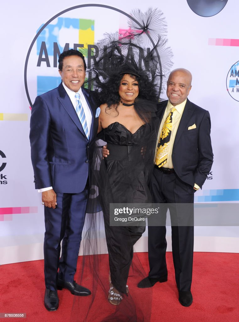 Smokey Robinson, Diana Ross and Berry Gordy arrive at the 2017 American Music Awards at Microsoft Theater on November 19, 2017 in Los Angeles, California.