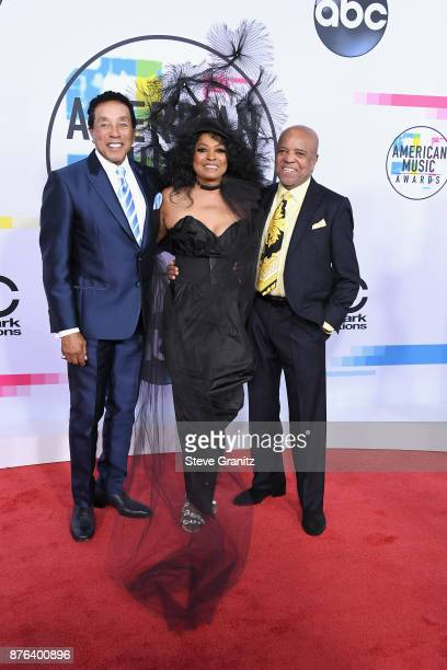 Smokey Robinson Diana Ross and Berry Gordy attend the 2017 American Music Awards at Microsoft Theater on November 19 2017 in Los Angeles California