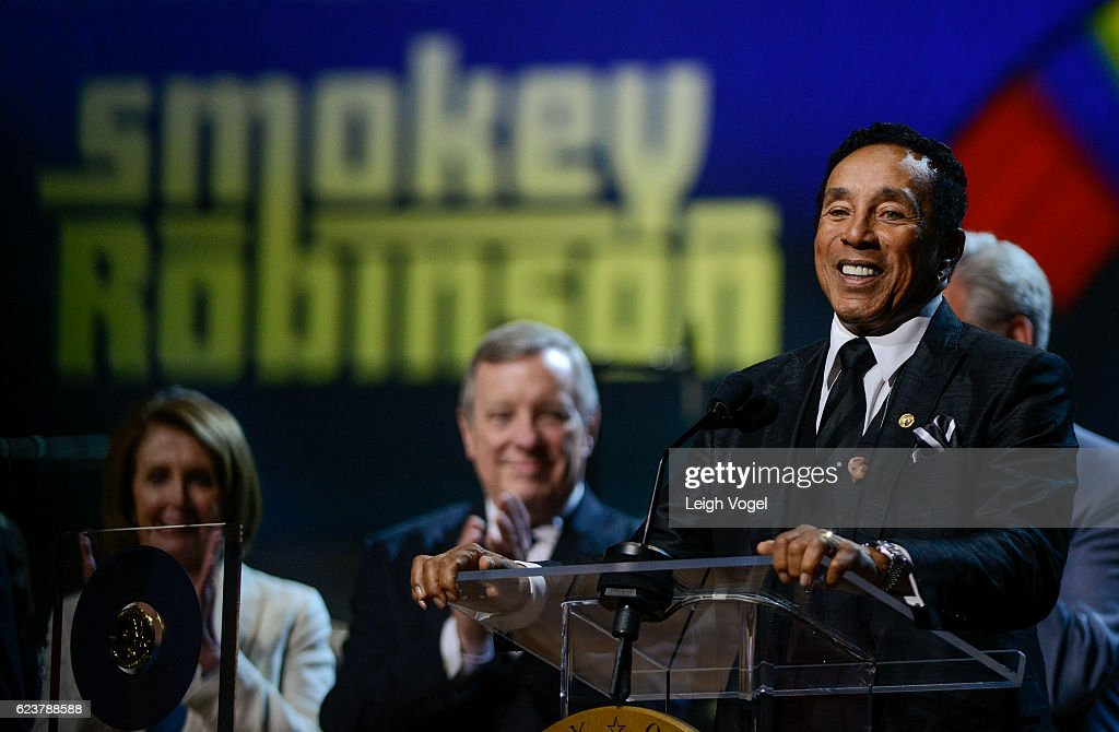 Smokey Robinson is presented with the 2016 Gershwin Prize For Popular Song Concert honoring Smokey Robinson at DAR Constitution Hall on November 16, 2016 in Washington, DC.