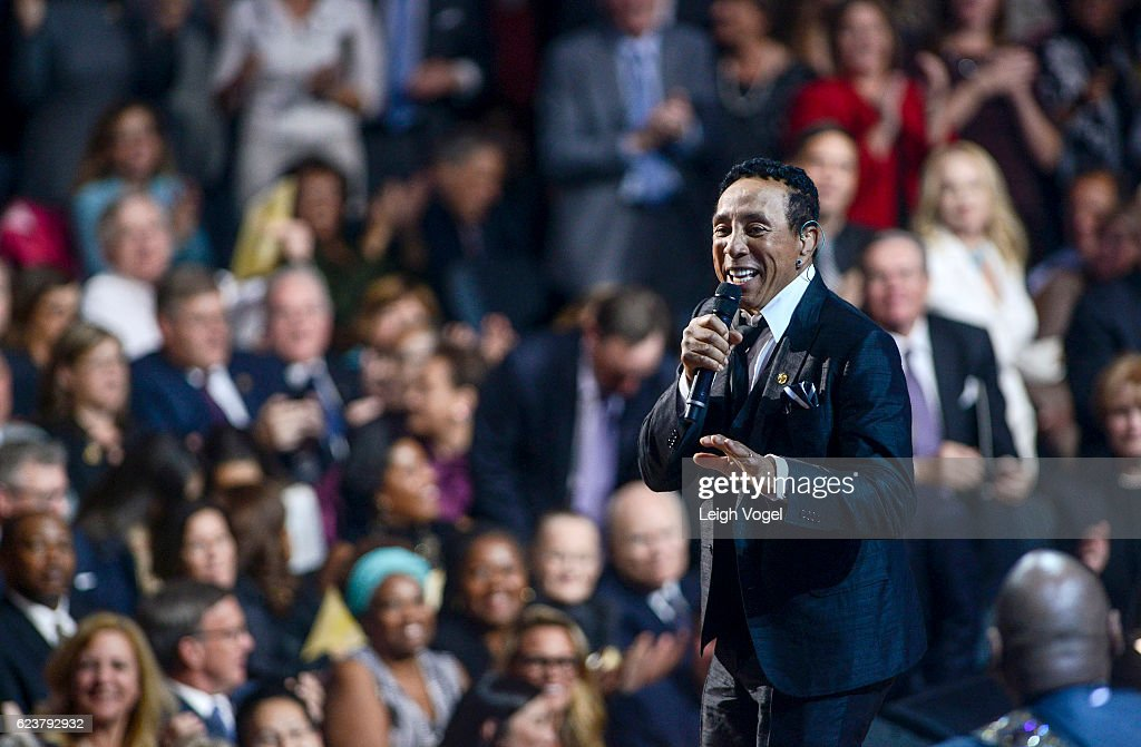 Smokey Robinson performs during the 2016 Gershwin Prize For Popular Song Concert honoring Smokey Robinson at DAR Constitution Hall on November 16, 2016 in Washington, DC.
