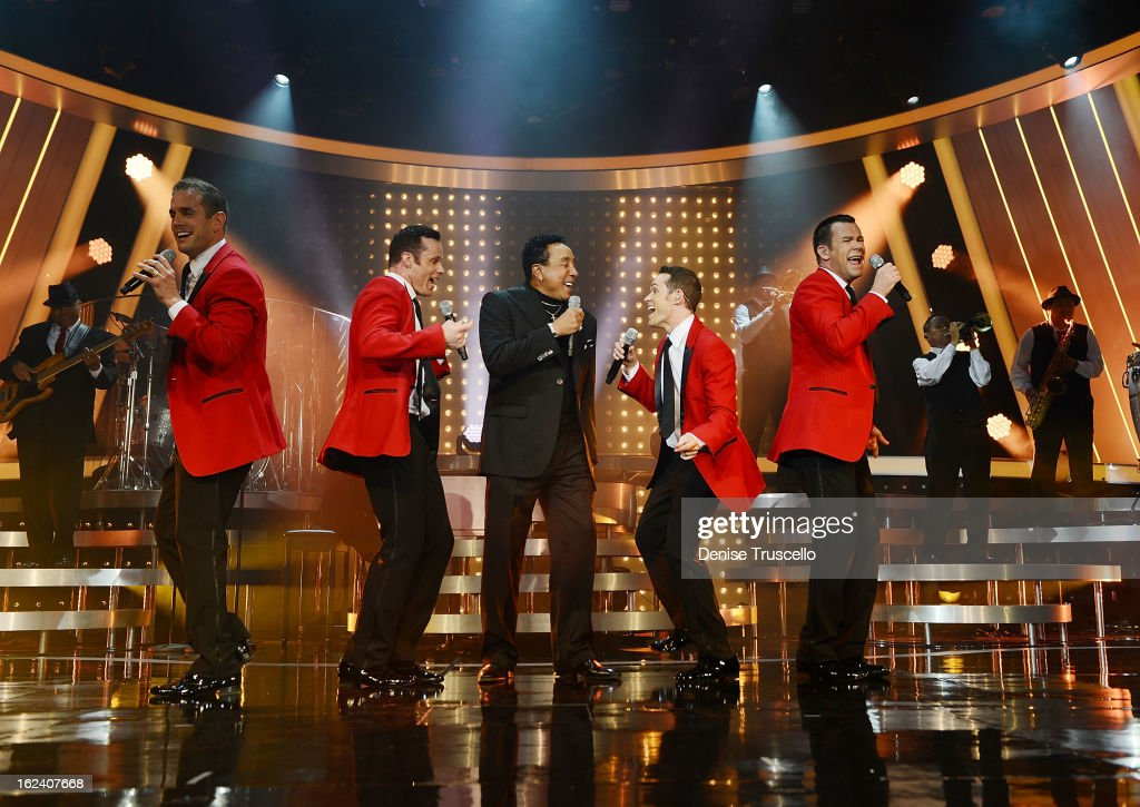 <a gi-track='captionPersonalityLinkClicked' href=/galleries/search?phrase=Smokey+Robinson&family=editorial&specificpeople=210698 ng-click='$event.stopPropagation()'>Smokey Robinson</a> performs with Human Nature during The Motown Opening at Venetian Hotel and Casino Resort on February 22, 2013 in Las Vegas, Nevada.