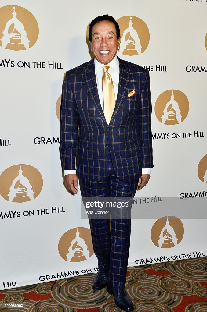 Smokey Robinson poses on the red carpet during 2016 Grammys On The Hill Awards at The Hamilton on April 13 2016 in Washington DC