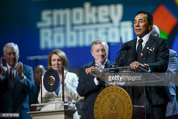 Smokey Robinson speaks as House of Representatives Democratic Whip Steny H Hoyer US House of Representatives Democratic Leader Nancy Pelosi US Senate...