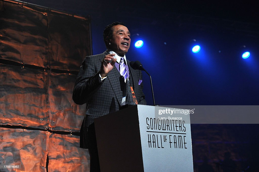 Smokey Robinson speaks at the Songwriters Hall of Fame 44th Annual Induction and Awards Dinner at the New York Marriott Marquis on June 13, 2013 in New York City.