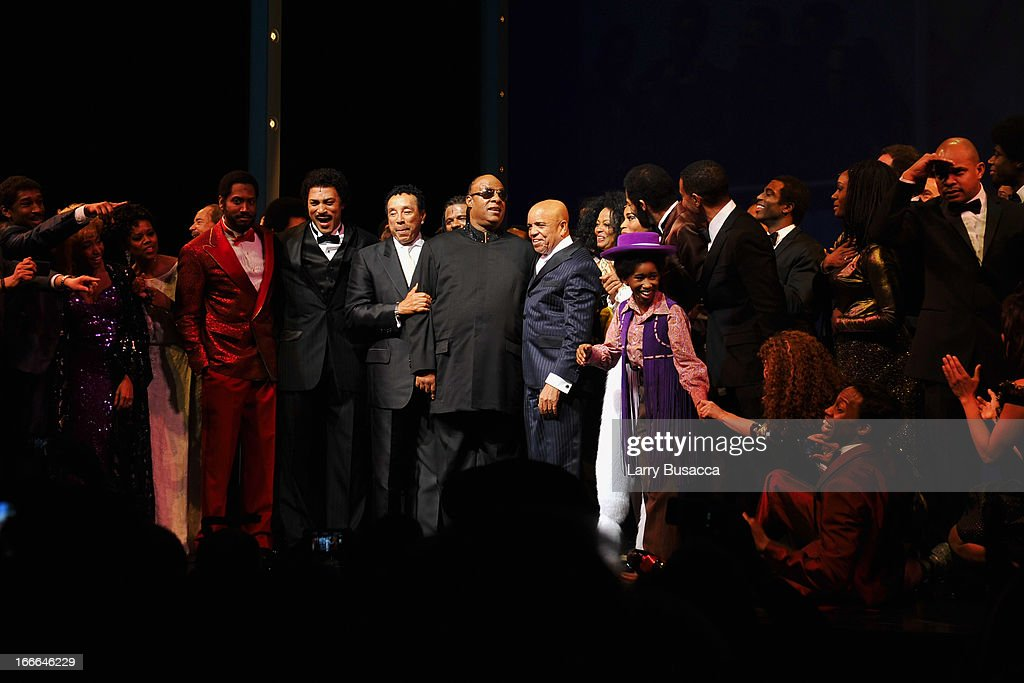 <a gi-track='captionPersonalityLinkClicked' href=/galleries/search?phrase=Smokey+Robinson&family=editorial&specificpeople=210698 ng-click='$event.stopPropagation()'>Smokey Robinson</a>, <a gi-track='captionPersonalityLinkClicked' href=/galleries/search?phrase=Stevie+Wonder&family=editorial&specificpeople=171911 ng-click='$event.stopPropagation()'>Stevie Wonder</a> and Berry Gordy pose onstage with the cast of 'Motown: The Musical' during Opening Night at Lunt-Fontanne Theatre on April 14, 2013 in New York City.
