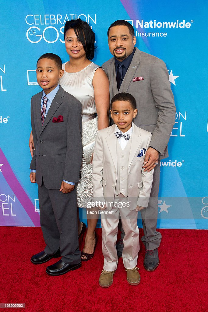 Smokie Norful (r) and family arrives at the BET Network's 13th Annual 'Celebration of Gospel' at Orpheum Theatre on March 16, 2013 in Los Angeles, California.