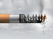 Smoking and society smoker death and smoke health danger concept as a cigarette burning with people falling as victims in hot burning ash as a metaphor causing lung cancer risks with 3D illustration e