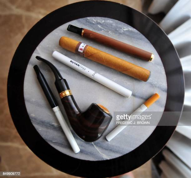 Smoking deveces by the inventor of the electronic cigarette Hon Lik are seen in Beiijng on May 25 2009 Also known as an 'ecigarette' the...