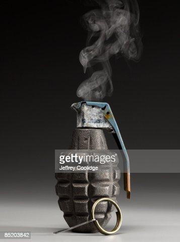 Smoking Hand Grenade with Pin Pulled