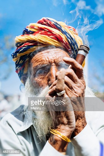 Smoking Indian Senior Man Real People Portrait