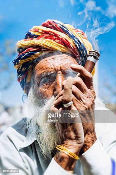 Smoking Indian Senior Man Real People Portrait