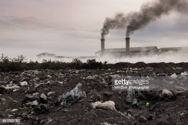 Smoking pipes of industrial factory and Fields garbage dump,Pollution