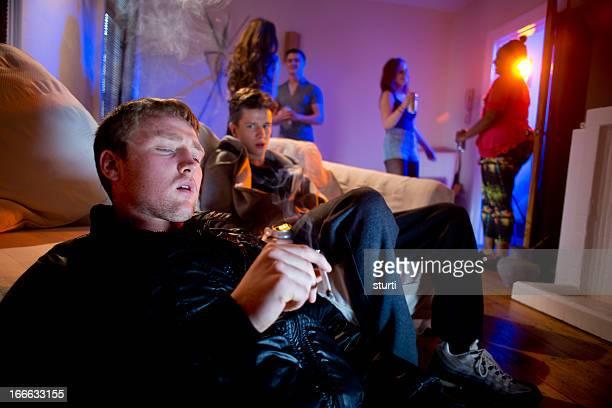 smoking pot at a house party