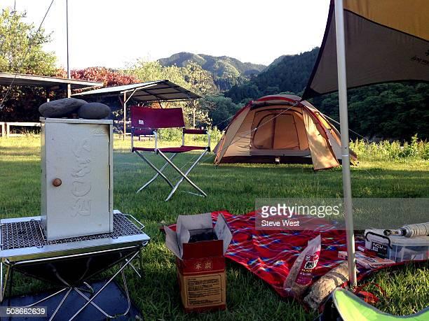 Smoking ribs at campsite