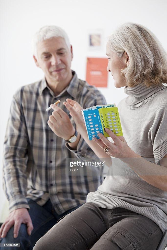 Smoking Treatment Elderly Person.