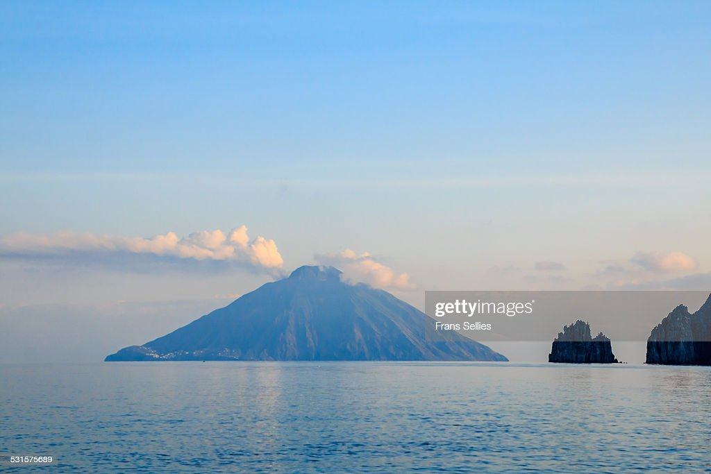 Smoking volcanic Island Stromboli, Italy
