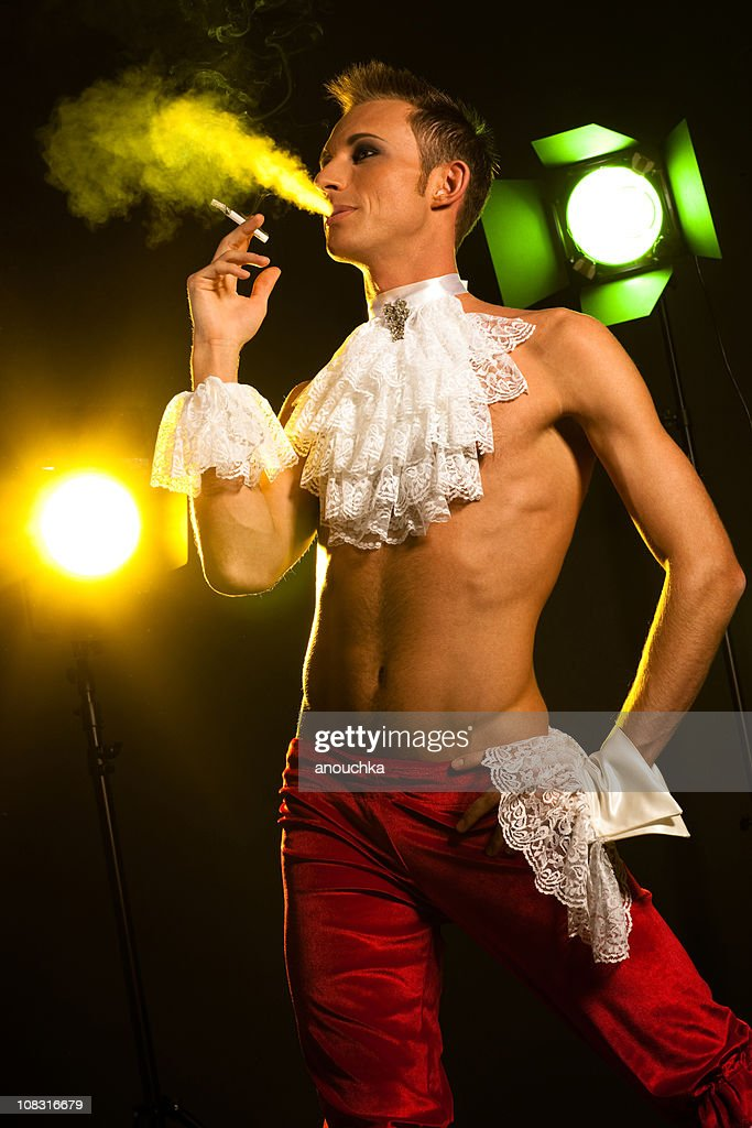Smoking Young Actor behind the scene : Stock Photo
