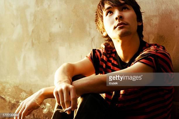 Smoking young man