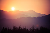 Smoky sunset in the pacific northwest during the summer wildfires
