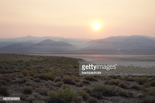 Smoky sunset in Nevada : Stock Photo