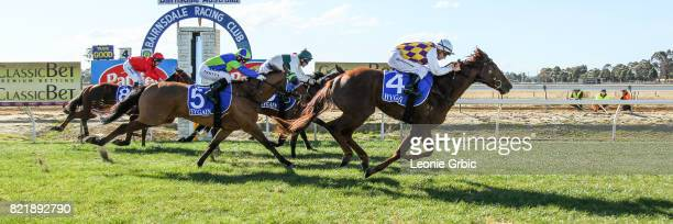 Smooth Hustler ridden by Chris Symons wins the Tambo Waste 3YO Maiden Plate at Bairnsdale Racecourse on July 25 2017 in Bairnsdale Australia