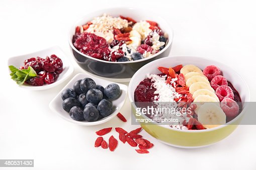 smoothie bowl, berry fruits and ingredient : Stockfoto