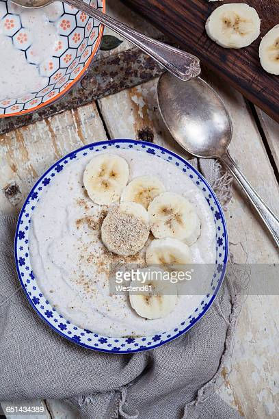 Smoothie bowl of banana, curd cheese, lemon juice and tigernut powder