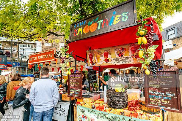 Smoothie stall, Camden Lock market in London, UK