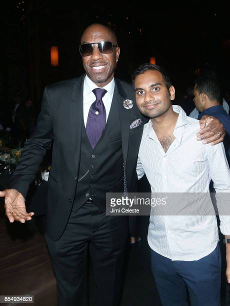 B Smoove and Aziz Ansari attend the 'Curb Your Enthusiasm' Season 9 premiere after party at TAO Downtown on September 27 2017 in New York City