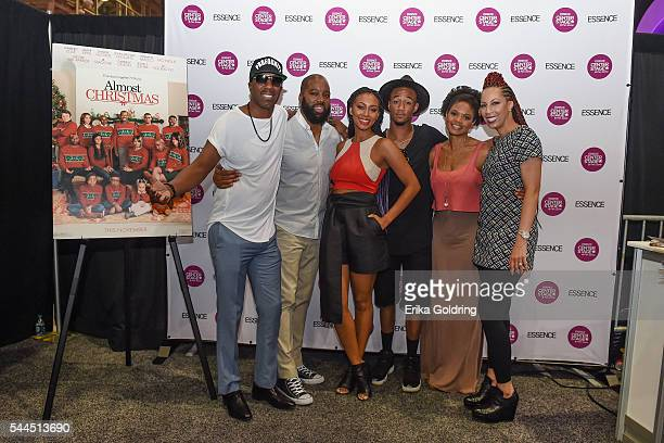 Smoove David Talbert Keri Hilson Jessie Usher Kimberly Elise and Lyn Talbert gather for a photo in the Fan Zone at Ernest N Morial Convention Center...