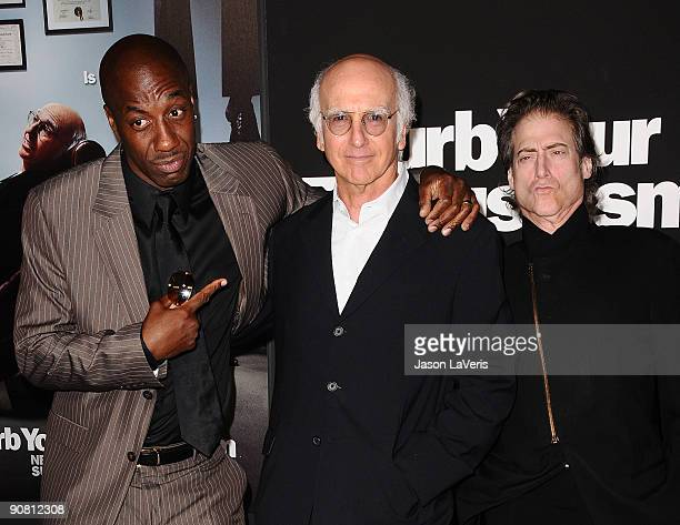 JB Smoove Larry David and Richard Lewis attend the 7th season premiere of HBO's 'Curb Your Enthusiasm' at Paramount Theater on the Paramount Studios...