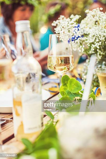 Smörgåsbord with wine and snaps