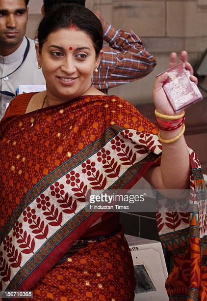 'NEW DELHI INDIA JULY 19 BJP MP Smriti Irani after casting her vote during voting for the country's new president at Parliament House on July 19 2012...