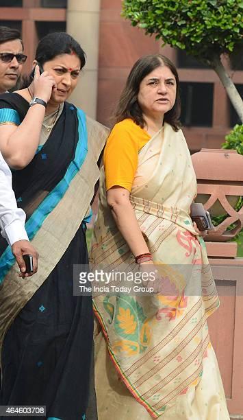 Smriti Irani and Maneka Gandhi at the BJP Parliamentary meeting at Parliament library in New Delhi