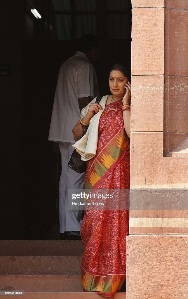 Smriti Irani at Parliament House on the first day of its winter session on November 22, 2012 in New Delhi, India. Parliament's winter session began on a stormy note as the issue of FDI in trade and reservation for ST/SC in promotion disrupted the Lok Sabha and Rajya Sabha.