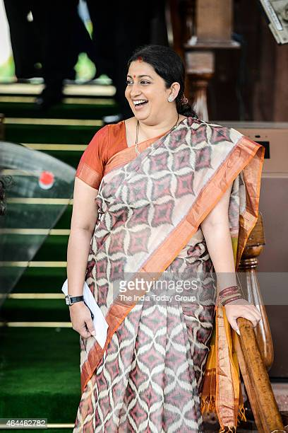 Smriti Irani entering Parliament on day 3 of the budget session on wednesday in New Delhi