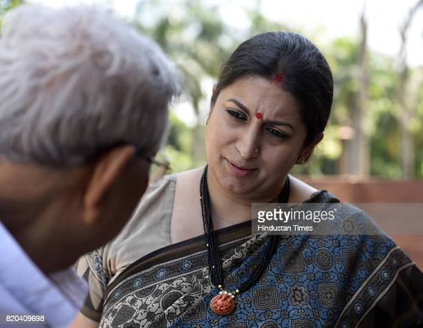 Smriti Irani Member of Rajya Sabha arrives at the Parliament for the Monsoon Session on July 21 2017 in New Delhi India