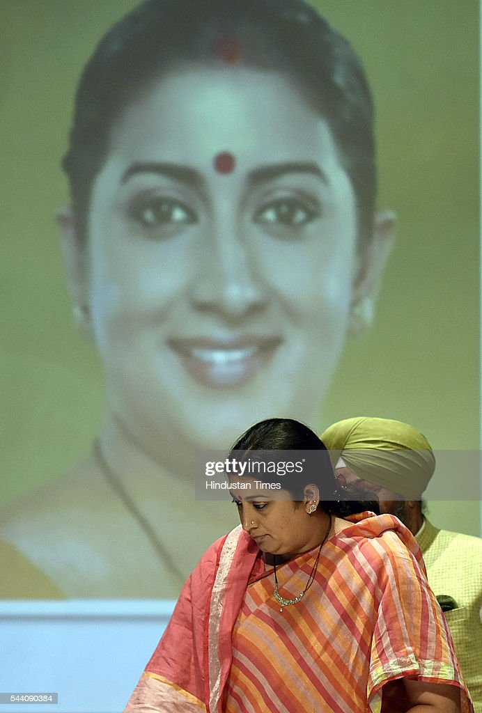 Smriti Irani union cabinet Minister of Human Resource Development along with Prof Yogesh Tygi (Vice chancellor of Delhi University) during the launch of Sri Guru Angad Dev teaching learning center, under Pandit Madan Mohan Malaviya National Mission on Teachers and Teaching (PMMMMNIMTT) MHRD at Sri Guru Tegh Bahadur Khalsha Collge (DU) on July 1, 2016 in New Delhi, India.