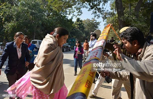 Smriti Irani visits Holy Child Auxiliam school that has been robbed in Vasant Vihar New DelhiIndia on Friday Febraury 132015