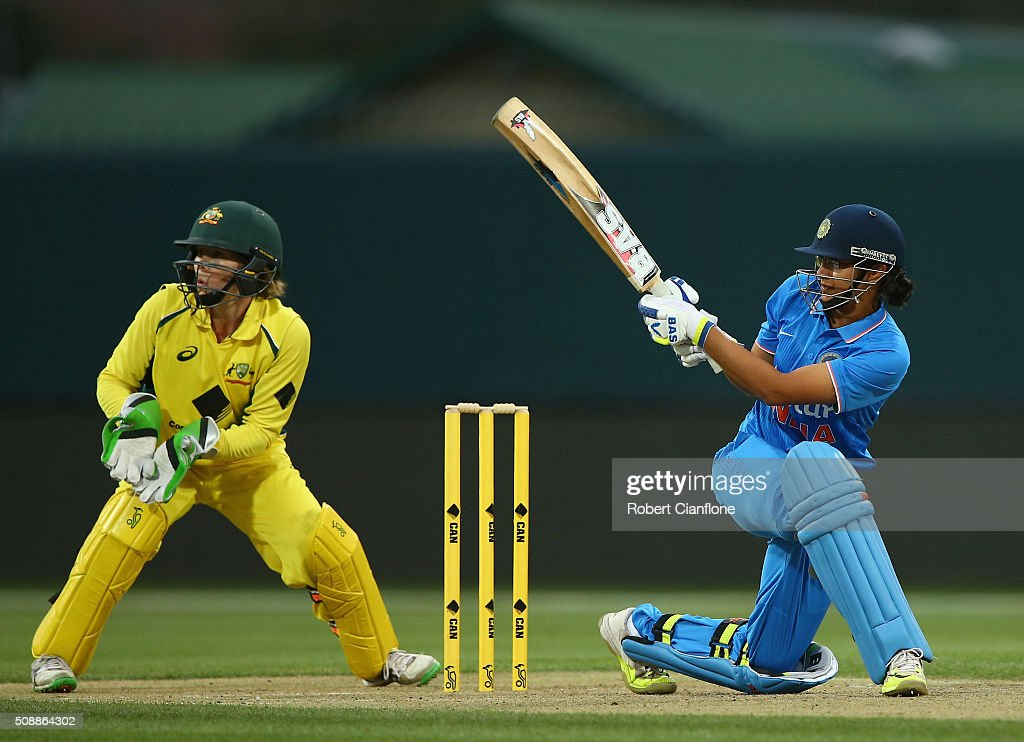 Smriti Mandha of India bats during game three of the one day international series between Australia and India at Blundstone Arena on February 7, 2016 in Hobart, Australia.