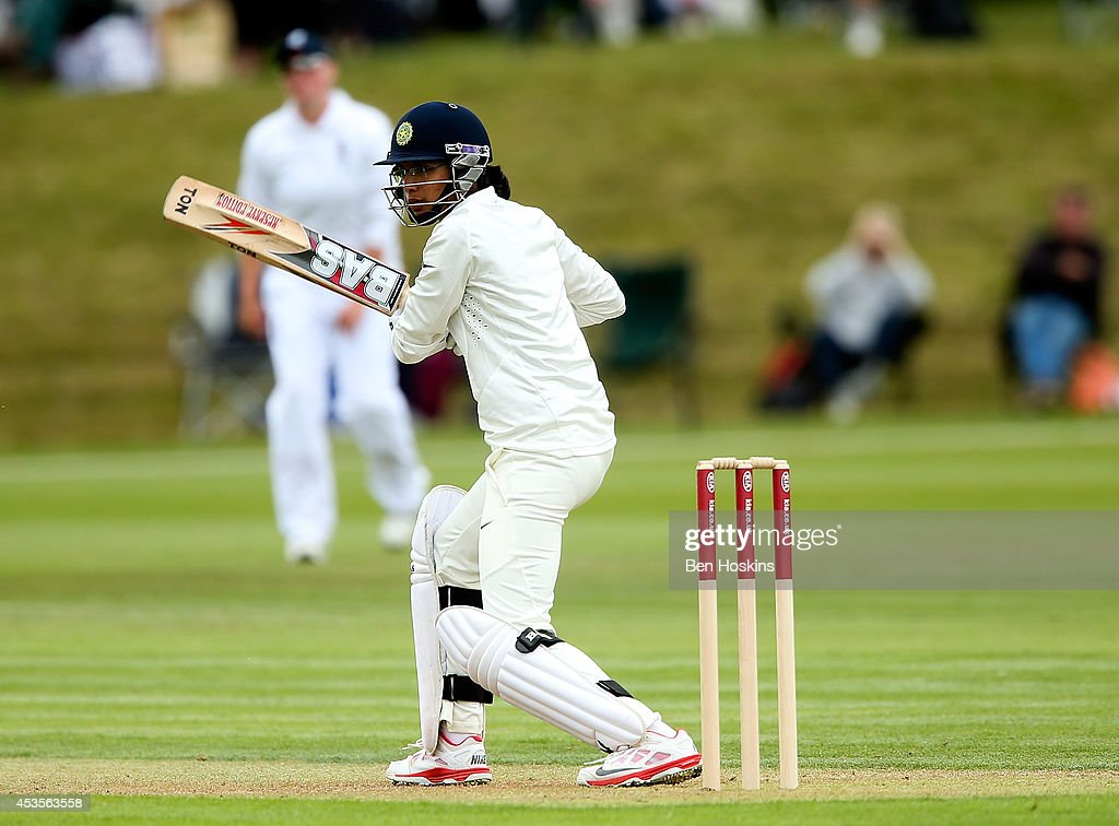 Smriti Mandhana of India bats during day one of Women's test match between England and India at Wormsley Cricket Ground on August 13 2014 in High...