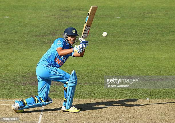 Smriti Mandhana of India bats during game two of the women's one day international series between Australia and India at Blundstone Arena on February...