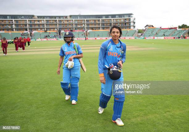 Smriti Mandhana of India leads her team off the field after The ICC Women's World Cup 2017 match betwen The West Indies and India at The County...