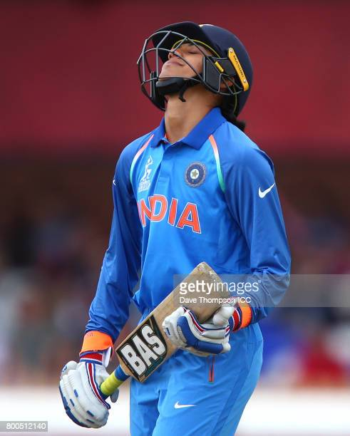 Smriti Mandhana of India leaves the field after getting out for 90 during the ICC Women's World Cup match between England and India at The 3aaa...