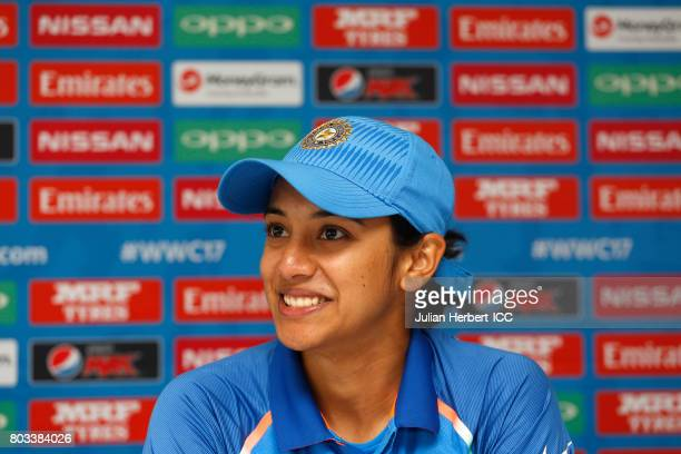 Smriti Mandhana of India speaks at a press conference after The ICC Women's World Cup 2017 match betwen The West Indies and India at The County...