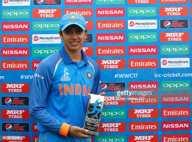 Smriti Mandhana of India with The Player of The Match award after The ICC Women's World Cup 2017 match betwen The West Indies and India at The County...