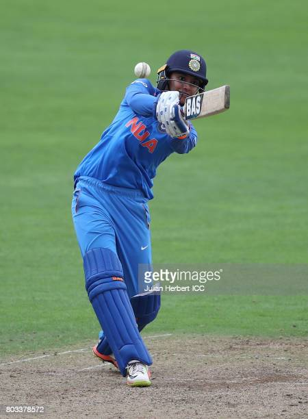 Smriti Mandhana scores runs during The ICC Women's World Cup 2017 match betwen The West Indies and India at The County Ground on June 29 2017 in...